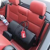 LV M53419 潮流supreme聯名款KEEPALL 45原單黑色水波紋手提旅行袋