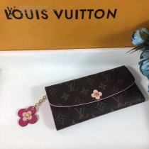 LV M64202 時尚女士EMlLlE原單老花搭配花卉裝飾搭扣長款錢包