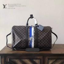 LV N41429-2 專櫃新品動物系列長頸鹿KEEPALL 45原單黑色棋盤格手提旅行袋