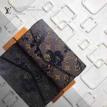 LV M60531-2 人氣新品女士原單Monogram搭配絲印黑色花朵搭扣長款錢包