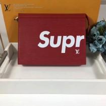 LV M61692-2 潮流男女新款supreme聯名款原單紅色水波紋收納袋