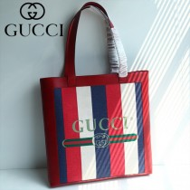 GUCCI 523781 潮流新品Ophidia tote原單紅藍白拼色條紋帆布購物袋