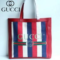 GUCCI 523774 潮流新品Ophidia tote原單紅藍白拼色條紋帆布大號購物袋