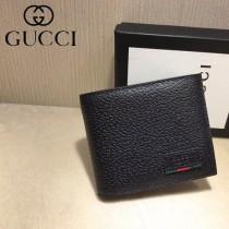 GUCCI-428748 古馳時尚新款原單古銅五金LOGO男士2折短夹