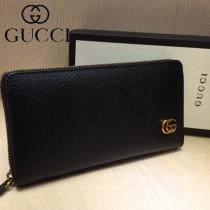 GUCCI-428736 古馳時尚新款原單古銅五金LOGO男士拉链钱包