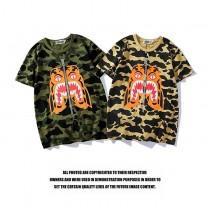 2018夏季新品潮牌 AAPE鯊魚頭老虎頭假拉鏈迷彩 男女純棉短袖T恤
