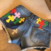 2018夏季新款-1 寬鬆破洞牛仔短褲女 顯瘦