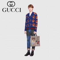 GUCCI-474084 古馳新款原版皮憤怒貓印花纖薄購物袋托特包