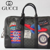 GUCCI-474131 古馳新款原版皮Courrier GG Supreme高級人造帆布旅行袋