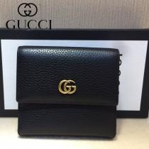 GUCCI-456122 古馳新款原版皮電鍍不掉色五金配件短夾