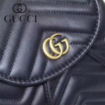 GUCCI-528129-01 古馳新款Marmont系列原版皮最新特色造型雙肩包