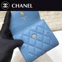 CHANEL-80734-01 香奈兒原版皮進口羊皮三折錢夾