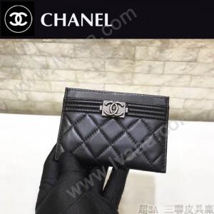 CHANEL-84431 香奈兒Boy新品進口羊皮片式卡包