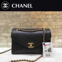 CHANEL-57431 原版皮 夏季新品 鏈條信封包V紋翻蓋包 可以肩背 可以斜挎