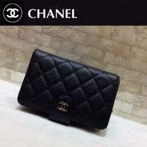 CHANEL-48667 香奈兒原版皮進口球紋牛皮短折錢夾