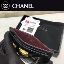 CHANEL-80611 香奈兒原版皮限量版徽章復古五金單片卡包