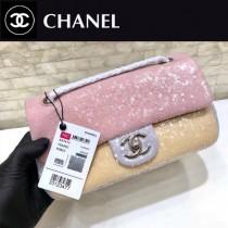 CHANEL-50-01 原版皮春夏新品 灰色 粉色 拼色珠片 cf亮片鏈條單肩包