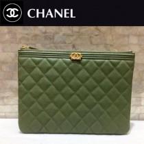 CHANEL-80570-01 原版皮 黑色拼墨綠進口球紋牛皮 手包 手拿包