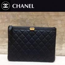 CHANEL-80570 原版皮 黑色拼墨綠進口球紋牛皮 手包 手拿包