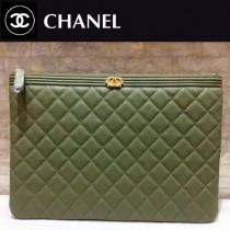 CHANEL-80571 原版皮 黑色拼墨綠進口球紋牛皮 手包 手拿包