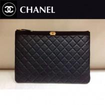 CHANEL-80571-01 原版皮 黑色拼墨綠進口球紋牛皮 手包 手拿包