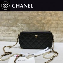 CHANEL-84276 香奈兒經典新款進口羊皮迷妳號菱格雙拉鏈手機包