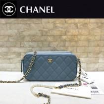 CHANEL-84276-03 香奈兒經典新款進口羊皮迷妳號菱格雙拉鏈手機包