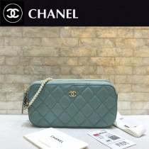 CHANEL-84276-02 香奈兒經典新款進口羊皮迷妳號菱格雙拉鏈手機包