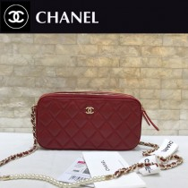 CHANEL-84276-04 香奈兒經典新款進口羊皮迷妳號菱格雙拉鏈手機包