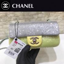 CHANEL 57413  原版皮春夏新品 灰色 粉色 拼色珠片 cf亮片鏈條單肩包