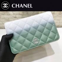 CHANEL 70248-02 原版皮 新款WOC 弧品 漸變色配胎牛皮 水晶膠吊墜雙C招財包 斜挎包