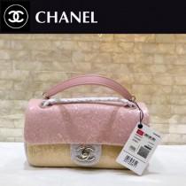 CHANEL 57413-01  原版皮春夏新品 灰色 粉色 拼色珠片 cf亮片鏈條單肩包