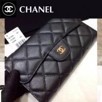 CHANEL-31506 原單進口 球紋牛皮 三折錢夾