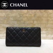 CHANEL-50099-01 原版皮 羊皮金銀扣 錢夾