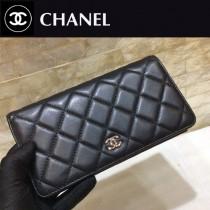 Chanel-50099-07 原版皮 升級版 經典進口 羊皮金銀扣 二折錢夾