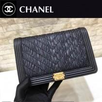 Chanel-70143 原版皮 早春希腊系列 限量WOC招财包 进口胎牛皮斜挎链条包款褶皱发财包 山形纹缝线