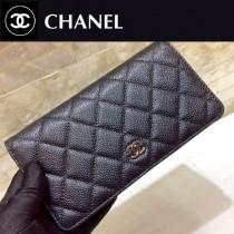 Chanel-50099-08 原版皮 升級版 經典進口球紋 金銀扣 二折錢夾