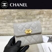 Chanel-80734-6 原版皮 進口球紋 短三折錢夾 專櫃同步上市