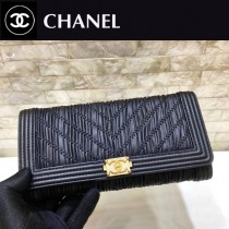 Chanel-70140 原版皮 早春希臘系列 限量錢夾 進口胎牛皮二折長款褶皺錢包 山形紋縫線