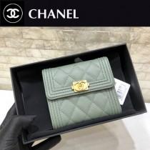 Chanel-80734-5 原版皮 進口球紋 短三折錢夾 專櫃同步上市