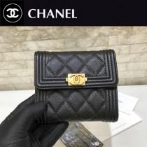 Chanel-80734-3 原版皮 進口球紋 短三折錢夾 專櫃同步上市