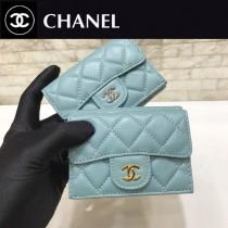 Chanel-84401-01 原版皮 進口 羊皮 迷妳短三折錢夾