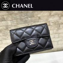 Chanel-84401-04 原版皮 進口 羊皮 迷妳短三折錢夾