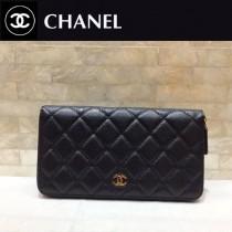 Chanel-50097-01 香奈兒經典款進口球紋金銀扣拉鏈錢夾