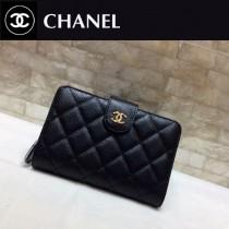 Chanel-48667-07 香奈兒原单进口魚子醬牛皮短折钱夹