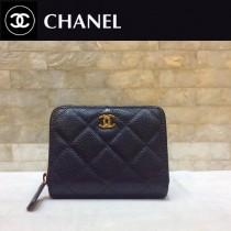 Chanel-69272-06 香奈兒經典款進口球紋牛皮和羊皮風琴拉鏈卡包