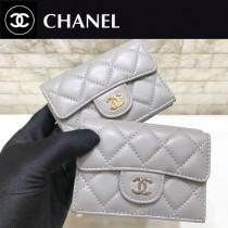 Chanel-84401-02 原版皮 進口 羊皮 迷妳短三折錢夾
