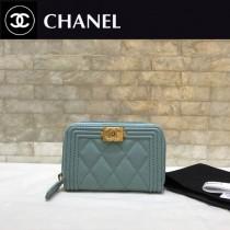Chanel-80602-09 香奈兒球紋限量boy款拉鏈卡包 零錢包