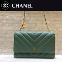 Chanel-33814-04 香奈兒貓頭鷹系列進口黑色小球紋牛皮V紋WOC斜挎包