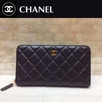Chanel-50097-02 香奈兒經典款進口小羊皮金銀扣拉鏈錢夾